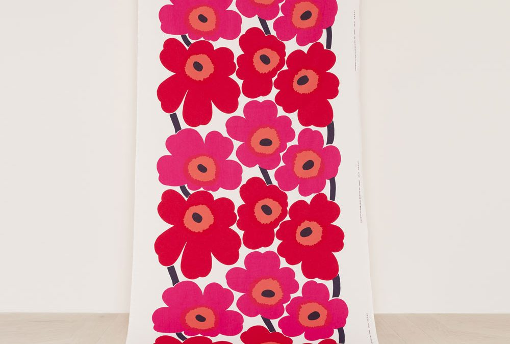 Marimekko Unikko Cotton Fabric in Pink