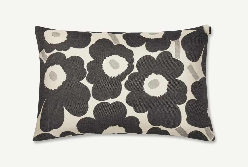 Marimekko Unikko Cushion Cover in Black and White