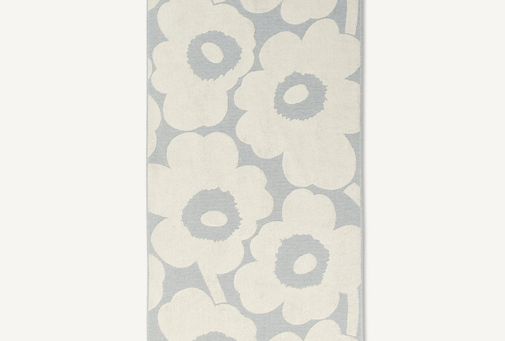 Marimekko Unikko Jacquard Bath Towels in Blue and White