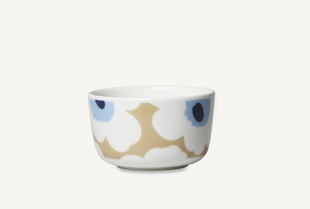 Marimekko Oiva Unikko Bowl in Beige and Blue