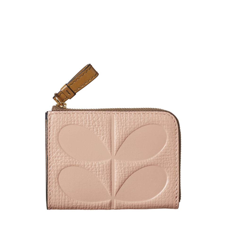 d4ead53e5f401e Orla Kiely Textured Leather Embossed Stem Small Zip Purse in Pink ...