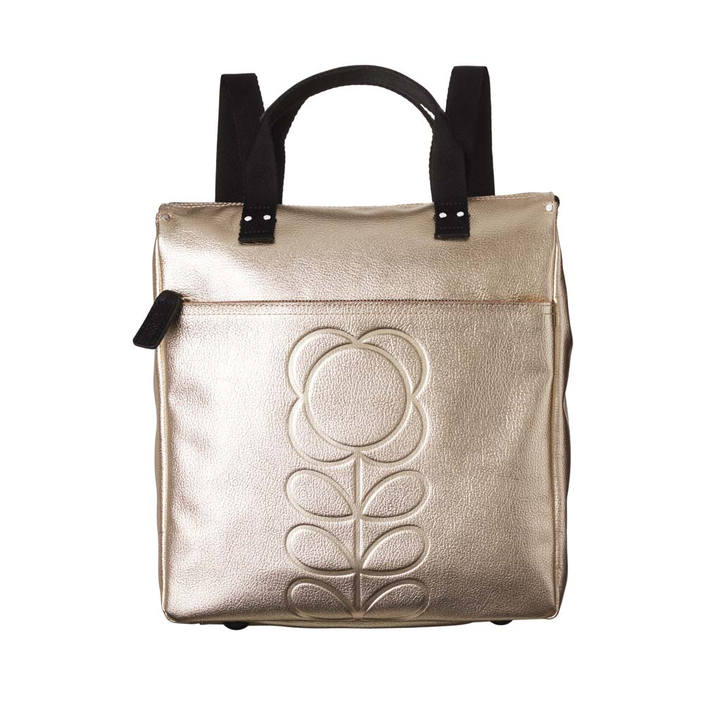 f211d5b0dea5 Orla Kiely Embossed Flower Leather Backpack Tote in Metallic Gold ...