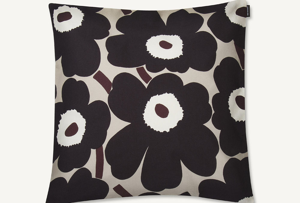Marimekko Pieni Unikko Cushion Cover in Beige and Dark Grey
