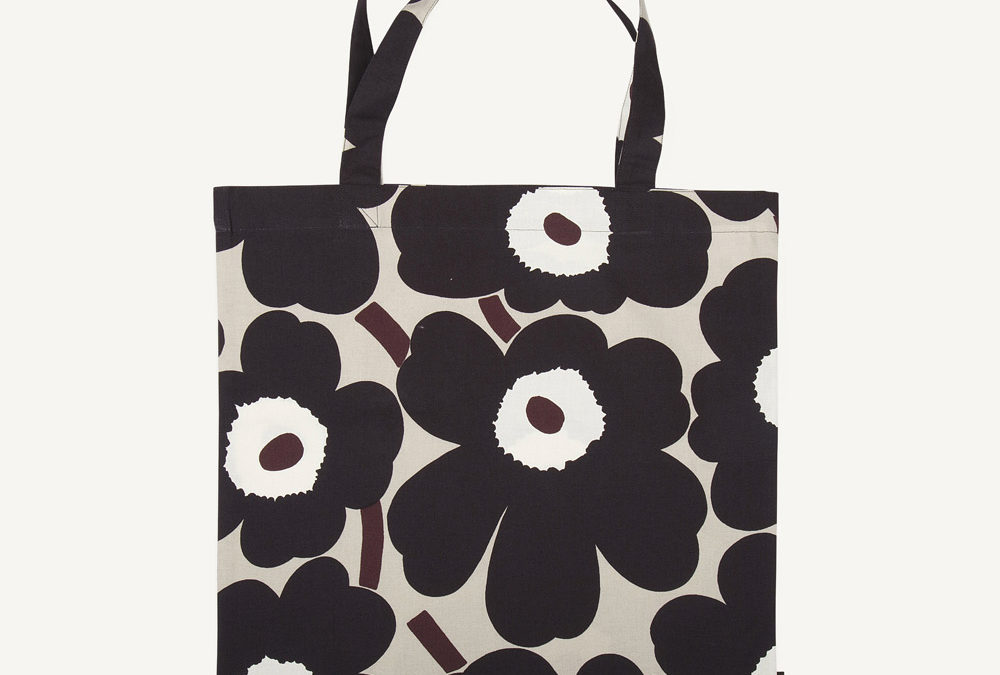 Marimekko Unikko Print Cotton Bag in Beige, Browns and White