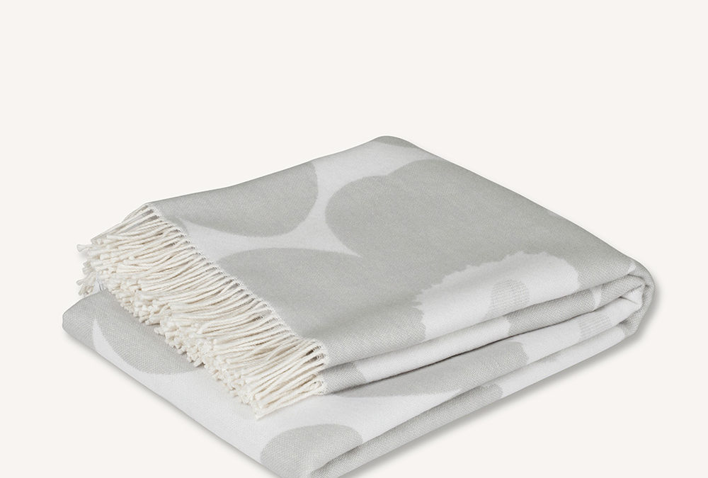 Marimekko Unikko Blanket in Grey and White