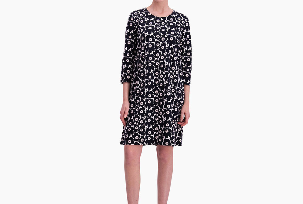 Marimekko Aretta Unikko Dress in Grey and Pink