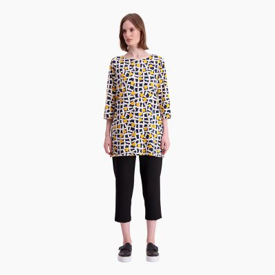1557f39ecc87 Marimekko Peretta Pielikki Tunic in Dark Blue and Yellow