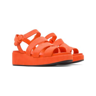 244afc003ed8 Camper Misia Flatform Sandal in Bright Orange Suede