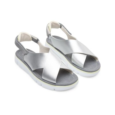 5e78e436e16f Camper Oruga Sandal in Silver Satin Leather