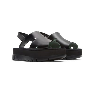44279c4438aa Camper Oruga Up Sandal in Black Satin Leather